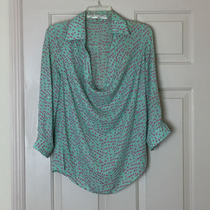 Tops - Green and Pink Draped Blouse with Bird Pattern